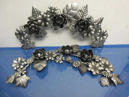 Set of 2 floral & leaf design arched silver metal wall hangings