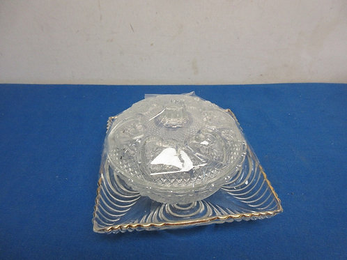 Small crytal candy dish with lid and square glass dish with gold trim