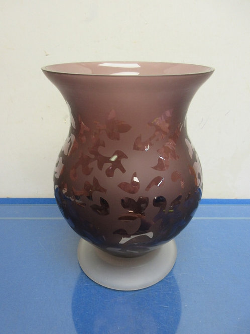 Plum glass footed jar style candle holder