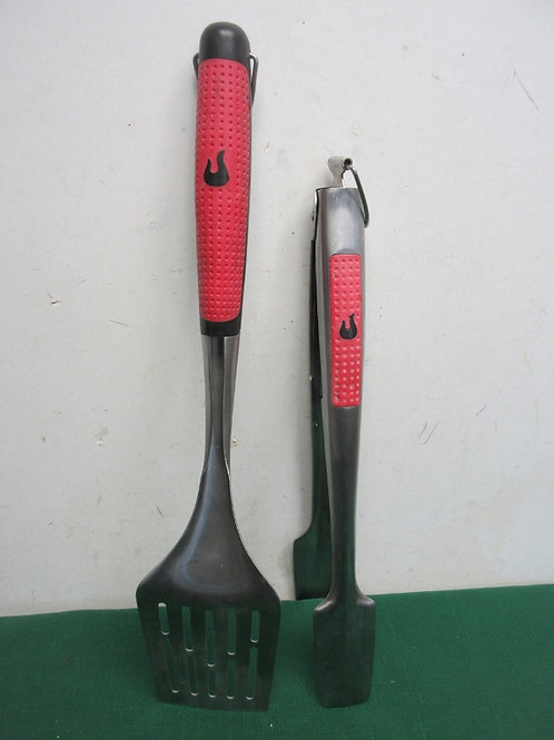 Pair of char broil stainless long handle bbq utensils