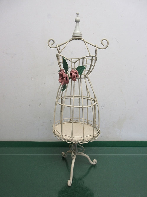 Off white dress form metal form jewelry hanging organizer w/pink metal rose s