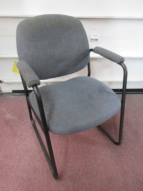Gray upholstered sled style base office chair