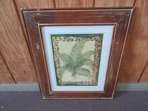 Print of a palm plant with leopard design mat & distressed brown frame 23x27""