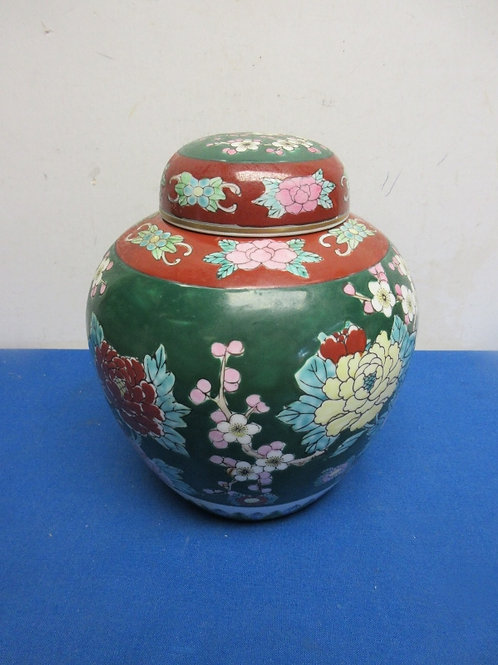 Asian style ceramic jar with lid, floral design