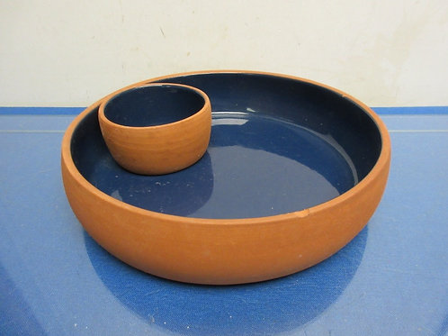 Terracotta color chip and dip bowl with blue interior