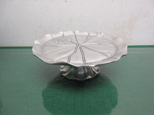 "Arthur Court pedestal aluminum plate with floral design 8""dia x 3""high"