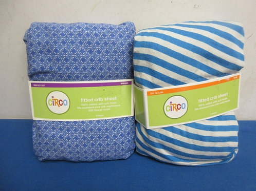 Circo pair of blue fitted crub sheets