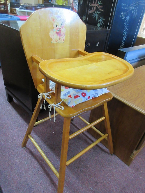 Vintage maple solid wood children's high chair with padded cushion