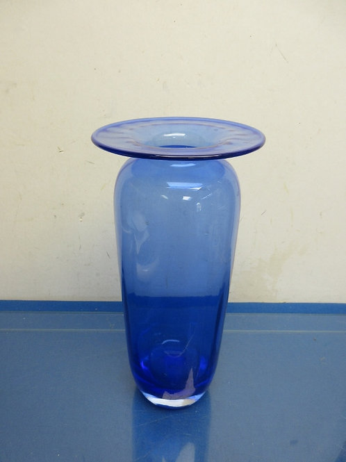 Large blue glass hand blown vase-6x13""
