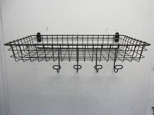 Black metal hanging basket with coat hooks - has 4 hooks, one is broken off