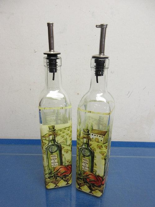 Pair of tall glass oil & vinegar bottles