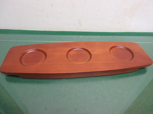 Brown candle plate with 3 grooves for candles