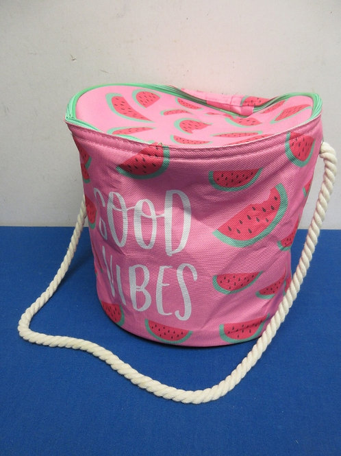 """Canvas insulated pink tote with watermelon design, 10""""diax 10"""" high"""