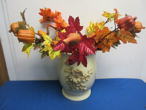 Large ivory vase with gol floral design and autumn braches