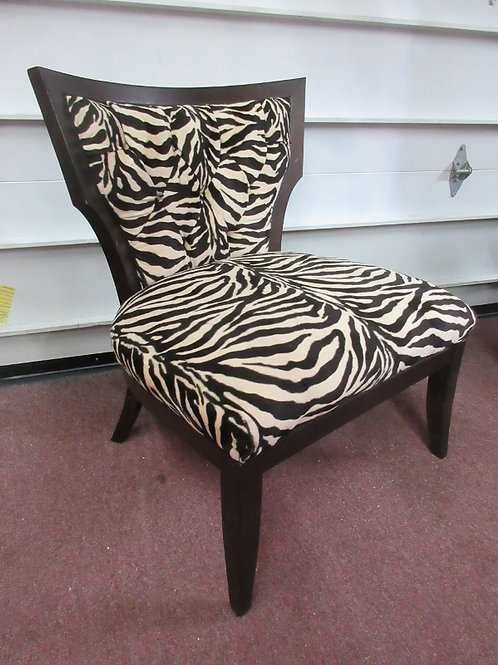Today's Home  espresso tone wood frame chair with zebra print upholstery,