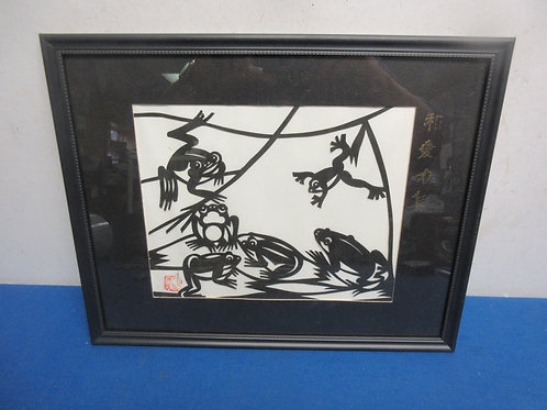 Black and white framed oriental paper art of frogs