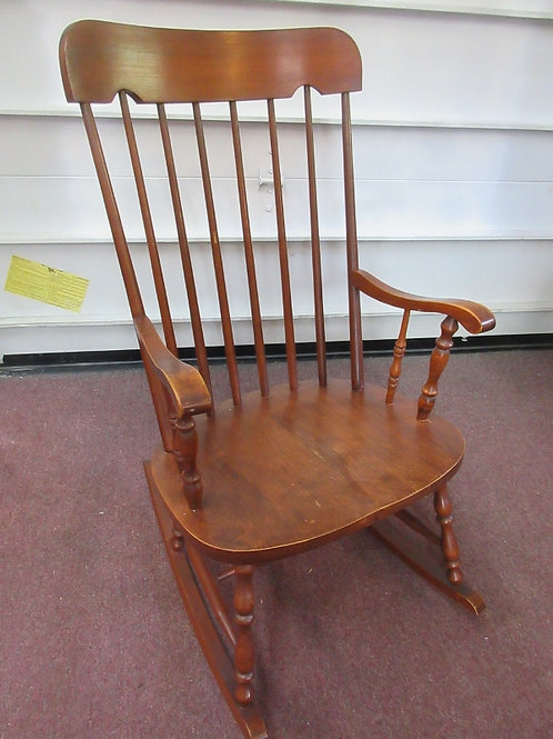 Cherry high back rocking chair with spindle back