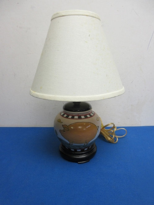"""Small country lamp with pigs painted on base 14""""high"""