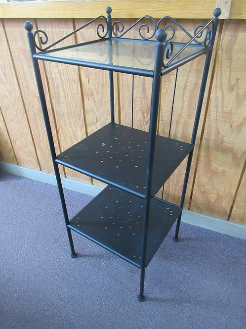 "Black  metal 3 tier shelf unit, 2 metal shelves, one glass 15x6x39""high, 2 avail"