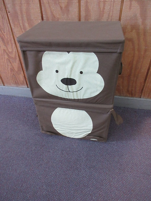 Set of 2 brown fabric collapsible storage bins with lids, monkey design