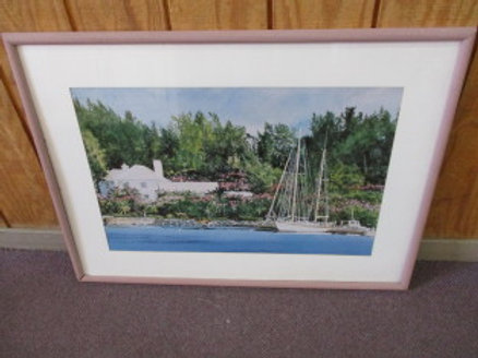 """Print of sailboat docked in front of a house - white mat with rose frame - 28"""" x"""