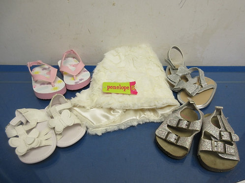 Babydoll white faux fur jacket and 4 pair of assorted shoes