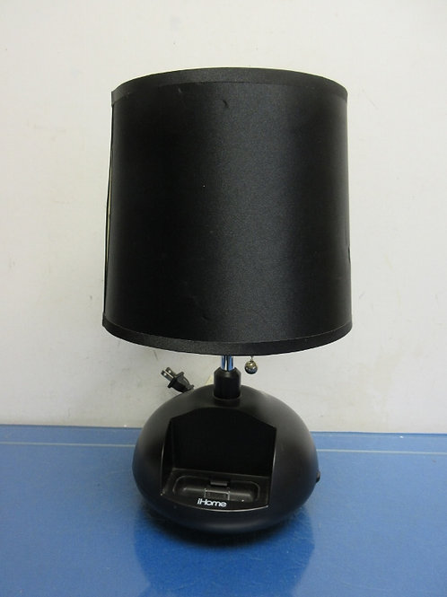 """Black table lamp with black shade has charger in base 14""""high"""