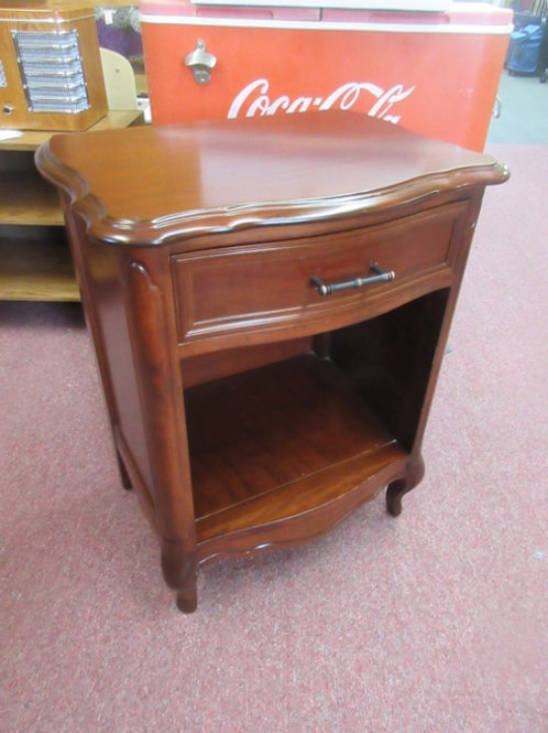 French Provincial cherry nightstand with drawer and bottom shelf