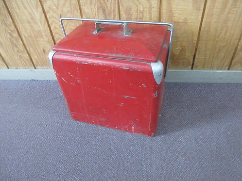 Vintage Coke style cooler with lift out galvanized tray, wear