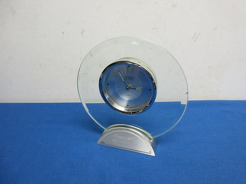 "Danbury glass clock with ""happy 25th anniversary"" inscription, 7"" tall"