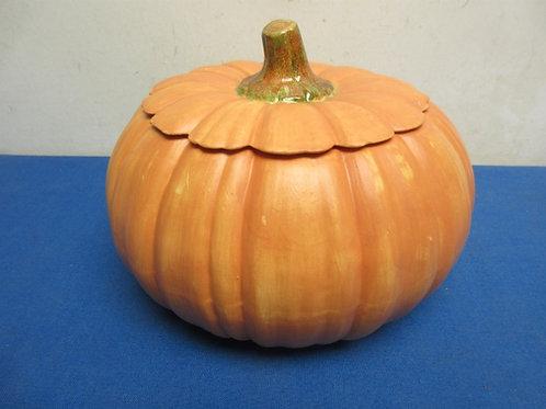 "Ceramic pumpkin, 8"" diameter"