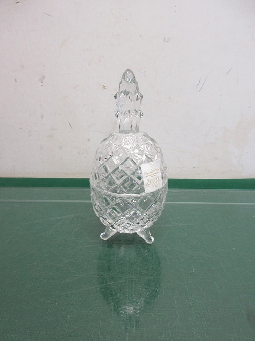 """Made in Slovakia cut glass egg shaped footed container with lid, 7""""high"""