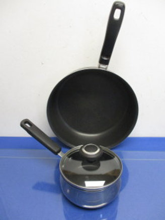 "Non stick cookware 10"" T-fal chicken fryer and 1qt cooks essentials saucepan wit"