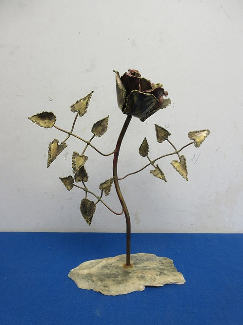 "Metal sculpture of rose, 12"" tall"