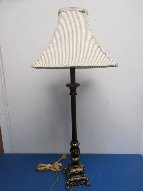 """Tall buffet lamp with striped shade, 29"""" tall"""