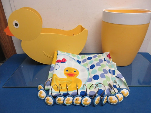 Bathroom yellow & white waste basket, rubber ducky shower curtain, hooks & more
