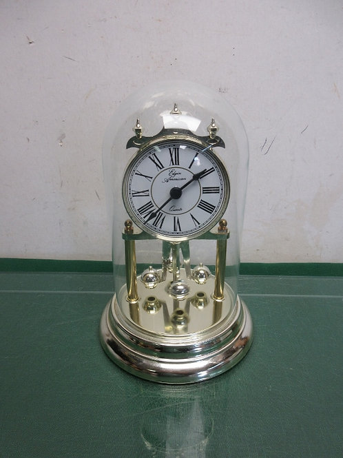 Elgin American anniversary clock gold with glass dome