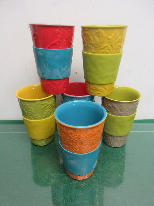 Set of 6 SCM design stoneware multi colored tumblers with sleeves