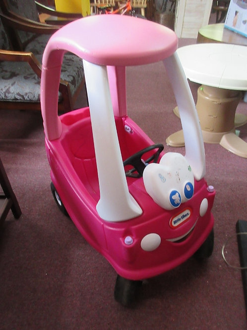 Little Tikes pink and white cozy coupe - some stickers on car