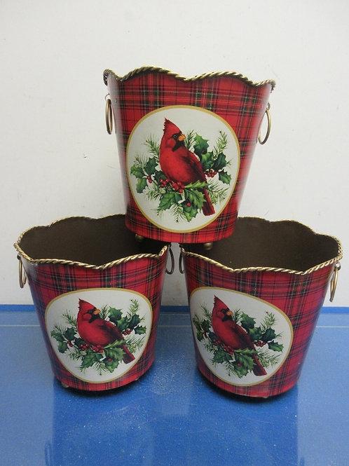 Valerie Parr Set of 3 metal planter baskets - cardinal design - brand new