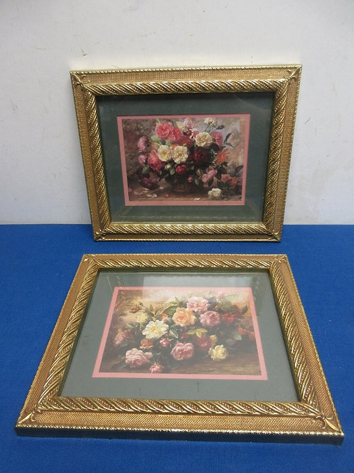 Pair of floral prints with ornate gold frames, 10x12