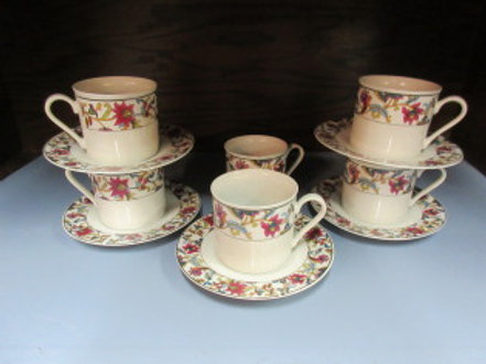 Set of 5 China pearl white floral cups with saucers