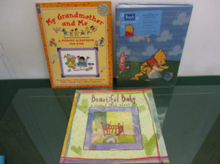 "set of 3 baby books record book - ""My Grandmother and Me"" and a photo album"