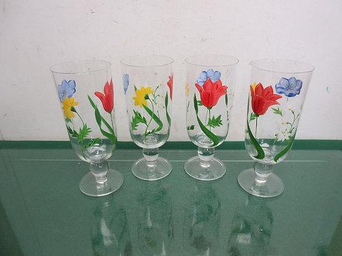 Set of 4 hand painted pedestal glasses