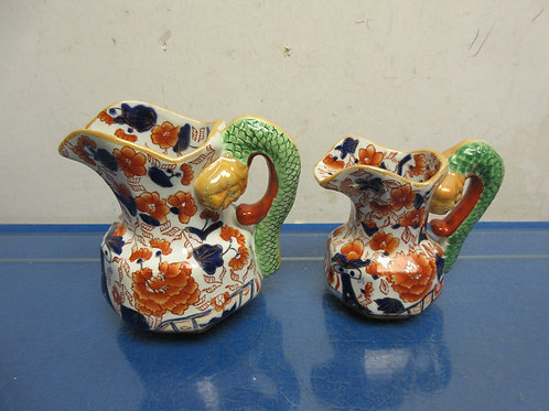 Pair of Asian ironstone pitchers, small and medium