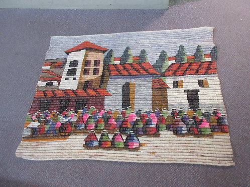 Woven throw rug with village scene 28x38""
