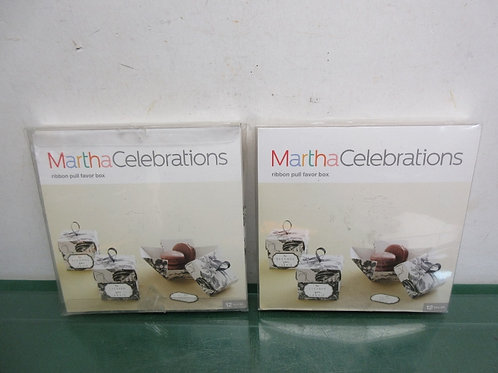 Pair of Martha Stewart ribbon pull favor box kits, each has 12 small boxes