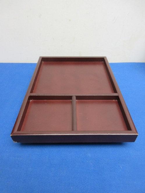 Dark wood arm chair tray