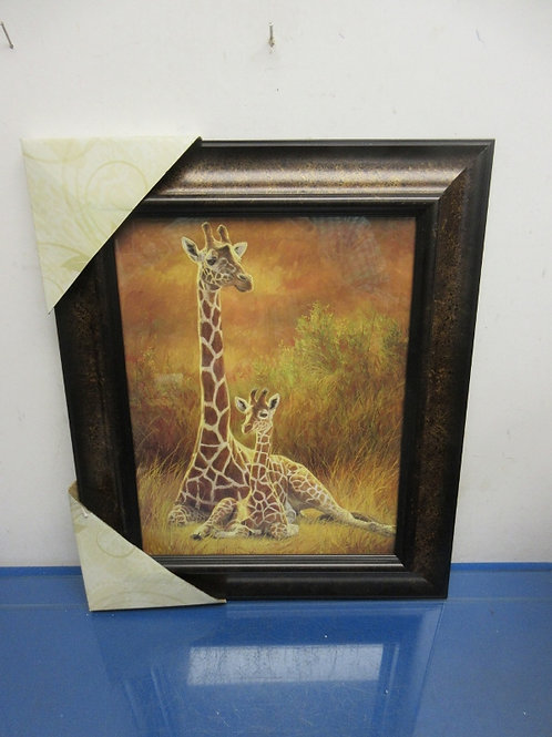 """Kirklands print of mother and baby girafve, brown and gold frame 15x18"""""""