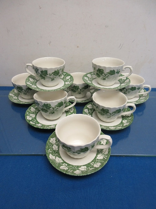 Set of 8 Churchill green and white cups and saucers - grape leaf design